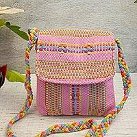 Cotton sling, 'In the Pink' - 100% Cotton Loom Woven Pink Striped Sling from Mexico