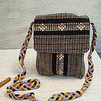 Cotton sling, 'Trellis' - 100% Cotton Handcrafted Black Multicolored Sling from Mexico