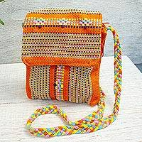 Cotton sling, 'Ginger and Spice' - Mexican 100% Cotton Hand Woven Orange Striped Sling