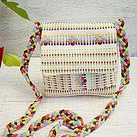 Cotton sling bag, 'Day in Oaxaca' - 100% Cotton Handwoven Beige Striped Sling Bag from Mexico
