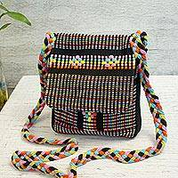 Cotton sling, 'Night in Oaxaca' - Mexican Artisan Crafted 100% Cotton Black Striped Sling Bag