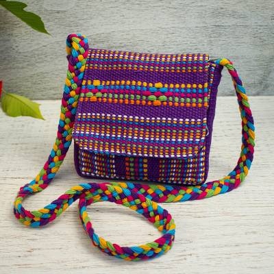 Cotton sling, 'Twilight in Oaxaca' - Mexican Backstrap Loom Woven 100% Cotton Purple Sling Bag