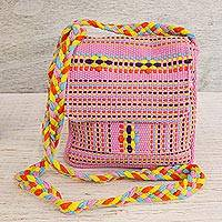 Cotton sling, 'Dawn in Oaxaca' - 100% Cotton Loom Woven Pink Striped Sling Bag from Mexico