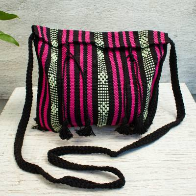 Cotton sling, 'Oaxacan Canvas in Black' - 100% Cotton Bohemian Style Striped Sling Bag from Mexico
