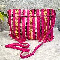 Cotton sling, 'Oaxacan Canvas in Fuchsia' - 100% Cotton Bohemian Style Fuchsia Sling Bag from Mexico