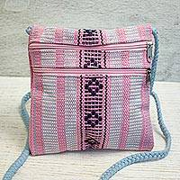 Cotton sling, 'Zapotec Patrimony' - 100% Cotton Pink and Blue Artisan Crafted Shoulder Bag