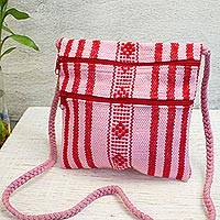 Cotton sling, 'Zapotec Bequest' - Handmade 100% Cotton Pink and Red Striped Shoulder Bag