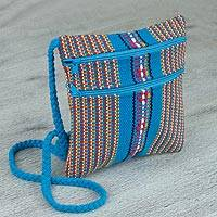Cotton sling, 'Zapotec Birthright' - Backstrap Loom Woven Turquoise 100% Cotton Sling