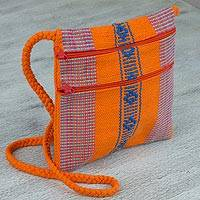 Cotton sling, 'Zapotec Benefactors' - Mexican Handmade Orange Striped 100% Cotton Sling