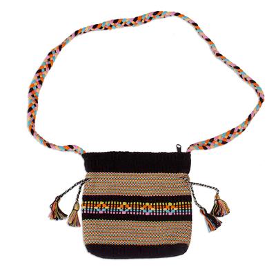 Novica Cotton shoulder bag, Interlaced in Black