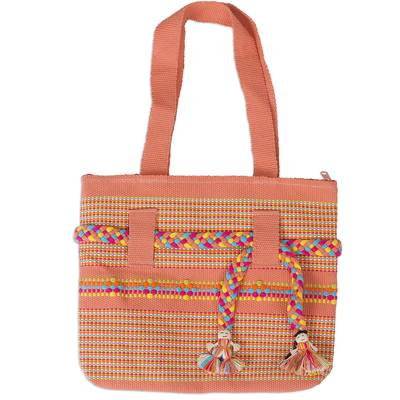 Cotton shoulder bag, 'Happy Couple' - Artisan Woven Melon Colored Cotton Shoulder Bag from Mexico