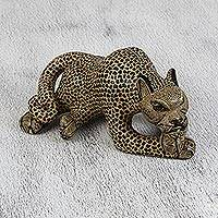 Ceramic figurine, 'Amatenango Jaguar' - Handcrafted Ceramic Maya Jaguar Figurine from Chiapas