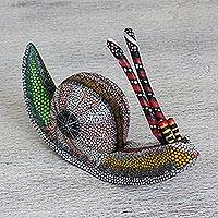 Alebrije sculpture, 'Colorful Snail' - Colorful Snail Alebrije Copal Wood Sculpture from Mexico
