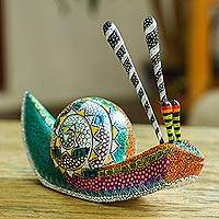 Wood alebrije sculpture, 'Vibrant Snail' - Hand-Painted Snail Alebrije Wood Sculpture from Mexico