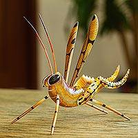 Alebrije sculpture, 'Golden Cricket' - Cricket Copal Alebrije Wood Sculpture from Mexico