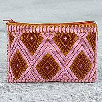 Cotton coin purse, 'Diamond Traveler' - Hand Woven 100% Cotton Diamond Pattern Pink Coin Purse