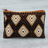 Cotton coin purse, 'Diamond Drama' - Hand Woven 100% Cotton Diamond Pattern Black Coin Purse