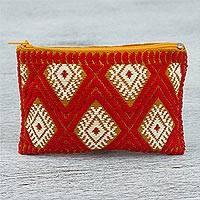 Cotton coin purse, 'Arresting' - Hand Woven 100% Cotton Diamond Pattern Orange Coin Purse