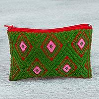 Cotton coin purse, 'Diamond Garden' - Hand Woven 100% Cotton Diamond Pattern Green Coin Purse