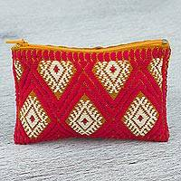 Cotton coin purse, 'Geometric Sunrise' - Hand Woven 100% Cotton Diamond Pattern Fuchsia Coin Purse