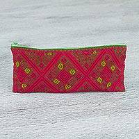 Cotton cosmetic bag, 'Woven Geometry' - Hand Woven Cotton Labyrinth Diamond Pattern Cosmetic Bag