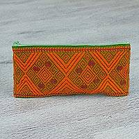 Cotton cosmetic bag, 'Sun's Labyrinth' - Hand Woven Cotton Labyrinth and Diamond Pattern Cosmetic Bag