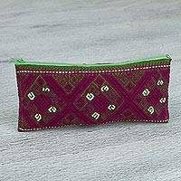 Cotton cosmetic bag, 'Berry Labyrinth' - Hand Woven Cotton Labyrinth and Diamond Pattern Cosmetic Bag