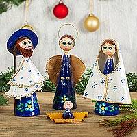Papier mache nativity scene, 'Awestruck Nativity' - Hand-Painted Papier Mache Nativity Scene from Mexico