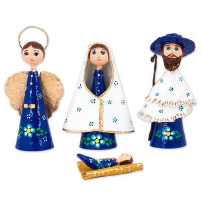 Hand-Painted Papier Mache Nativity Scene from Mexico