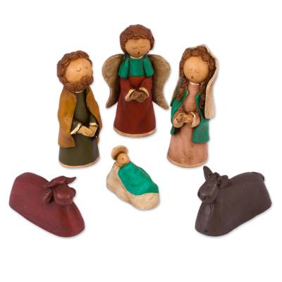 Mexican Handcrafted Ceramic Naif Nativity Scene (6 Pieces)