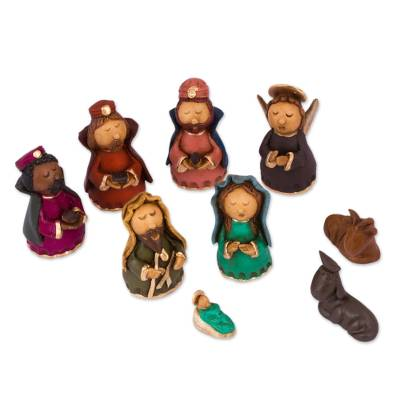 9-Piece Handcrafted Ceramic Nativity Scene from Mexico