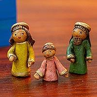 Ceramic nativity scene, 'Charming Nativity' - Artisan Crafted Three-Piece Nativity Scene from Mexico