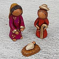 Ceramic nativity scene, 'Silent Nativity' - Ceramic Nativity Scene with Papier Mache Box from Mexico