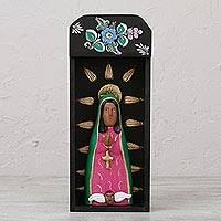 Ceramic and wood sculpture, 'Holy Guadalupe' - Religious Ceramic and Wood Sculpture of Mary from Mexico
