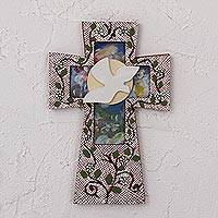 Wood wall cross, 'Sign of Light' - Handcrafted Pinewood Wall Cross from Mexico