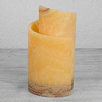 Marble and onyx accent lamp, 'Pineapple and Coffee' - Yellow Marble and Onyx Accent Lamp from Mexico