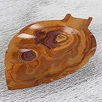 Onyx catchall, 'Handy Leaf in Brown' - Handcrafted Leaf-Shaped Onyx Catchall in Brown from Mexico