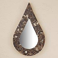 Onyx wall mirror, 'Drop of Rain'