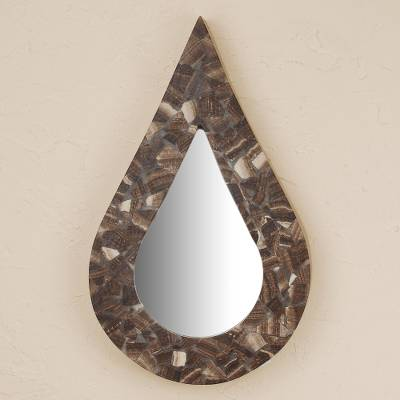 Onyx wall mirror, 'Drop of Rain' - Mexican Brown Onyx Wall Mirror in the Shape of a Raindrop