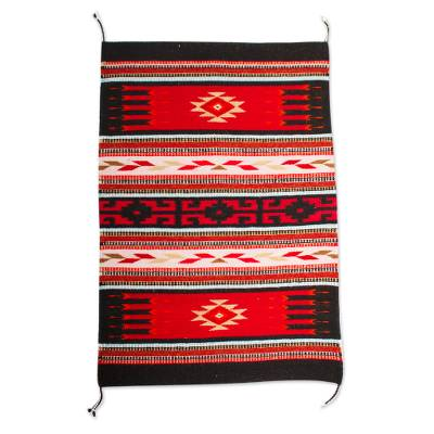 Red and Black Zapotec Handwoven Wool Accent Rug (2 x 3.5)