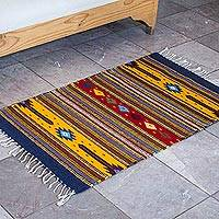 Zapotec wool rug, 'Autumn Marigolds' (2x3.5) - Zapotec Handwoven Orange Wool Accent Rug (2 x 3.5)