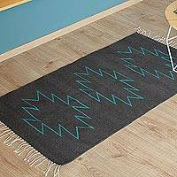 Zapotec wool rug, 'Star Silhouette' (2.5x5) - Handwoven Zapotec Wool Accent Rug (2.5 x 5)