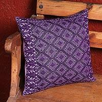 Cotton cushion cover, 'Highlands Heritage' - Artisan Crafted 100% Cotton Purple Cushion Cover from Mexico