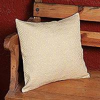 Cotton cushion cover, 'Warmth of the Highlands' - Mexican Handcrafted 100% Cotton Beige Cushion Cover