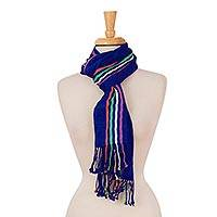 Cotton scarf, 'Blue Paradise' - Woven Blue Striped Cotton Wrap Scarf from Mexico