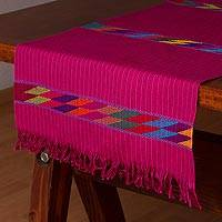 Cotton table runner, 'Joyous Day' - Pink and Multicolor 100% Cotton Table Runner from Mexico