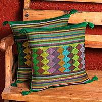 Cotton cushion covers, 'Chiapas Landscape' (pair) - 100% Cotton Cushion Covers in Green from Mexico (Pair)