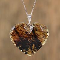 Amber pendant necklace, 'Complex Love' - Heart-Shaped Natural Amber Pendant Necklace from Mexico