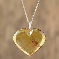 Amber pendant necklace, 'Love and Honey' - Natural Amber Heart Pendant Necklace from Mexico