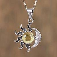 Amber pendant necklace, 'Honey Eclipse' - Sun and Moon Amber Pendant Necklace from Mexico